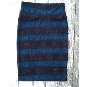LuLaRoe Cassie Skirt Black Navy Blue Geometric